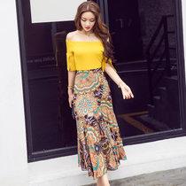 莉菲姿 一字肩长裙套装裙女夏时?#34892;?#38386;T恤半身裙两件套2017夏季新款(黄色 L)