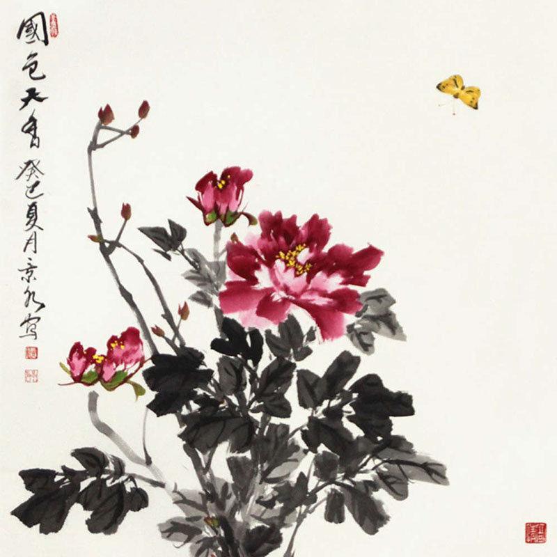 贾景水 国色天香3>国画花鸟画水墨写意牡丹蝴蝶斗方
