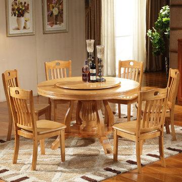 品尚美家餐桌 实木橡木餐桌 中式圆餐桌客厅餐桌 大圆桌 现代中式简约