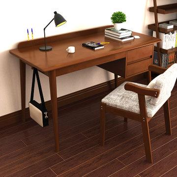 租房党: 物槿 北欧实木书桌 1m 胡桃色