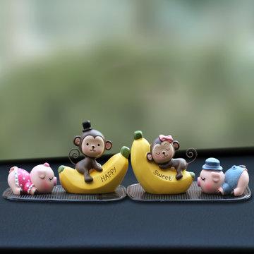 内创意汽车摆件饰品可爱车载卡通小玩偶车饰小猪公仔礼品(大号亲嘴娃)