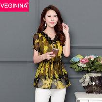 VEGININA 中长款V领显瘦收腰短袖碎花雪纺衫女 9720(黄色 4XL)