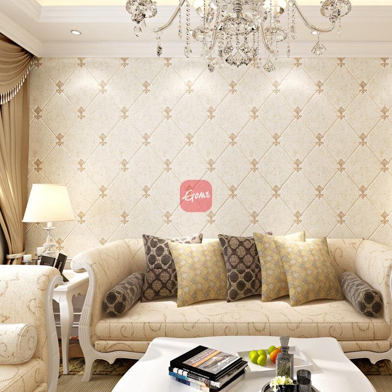 爱舍东方 欧式鹿皮绒电视背景墙客厅卧室墙纸 菱格 壁纸(00331米黄)