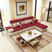 紫茉莉 客厅组合布艺沙发2071左双人位+右双人位+脚踏
