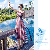 素芬 沙滩裙条纹吊带雪纺连衣裙长裙波西米亚海边度假无袖长裙(图片色 L)