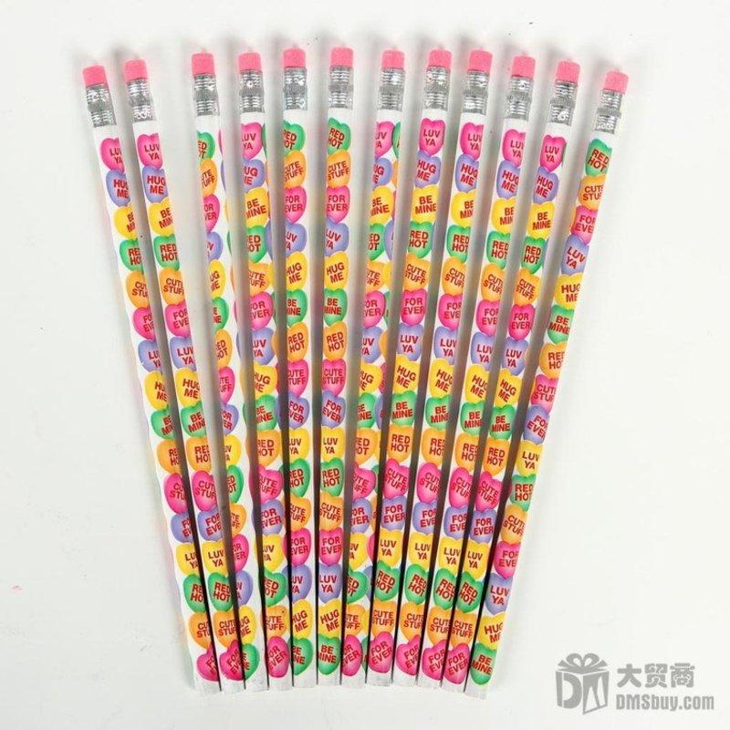 儿童爱心圣诞彩色铅笔 普通铅笔 韩国文具 12支装 SS00425 0.08(爱心铅笔)第2张商品大图