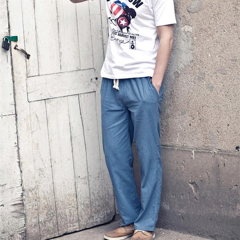 夏季休闲裤男青年直筒长裤男士修身棉麻裤子男薄款亚麻韩潮男裤(军绿色 XXL)第5张商品大图