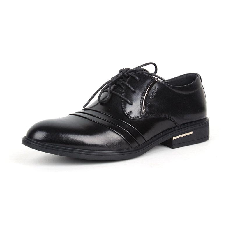 意尔康男鞋经典商务男尖头套脚真皮皮鞋平跟办公室正装单鞋潮93337(浅棕 42)第2张商品大图